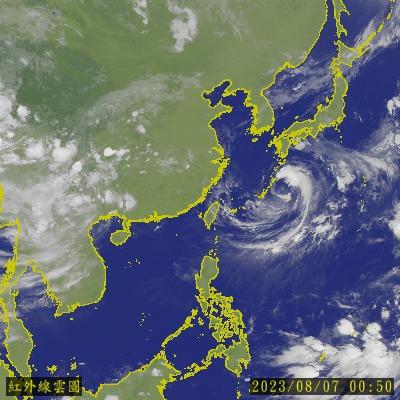 紅外線彩色衛星雲圖-東亞